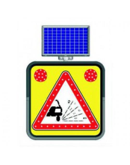 GEVŞEK MALZEMELİ ZEMİN -SOLAR LED`Lİ YOL BAKIM LEVHASI(60x60cm)