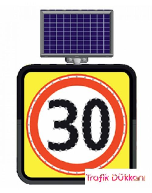 AZAMİ HIZ SINIRLAMASI - SOLAR LED`Lİ YOL BAKIM LEVHASI(60x60cm) - 11844 FL