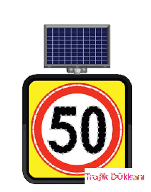 AZAMİ HIZ SINIRLAMASI - SOLAR LED`Lİ YOL BAKIM LEVHASI(60x60cm) - 11845 FL