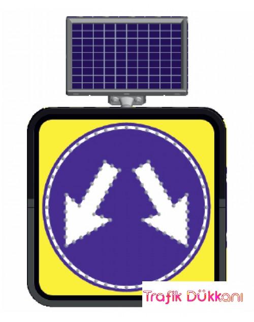 HER İKİ YERDEN GİDİNİZ - SOLAR LED`Lİ YOL BAKIM LEVHASI(60x60cm)